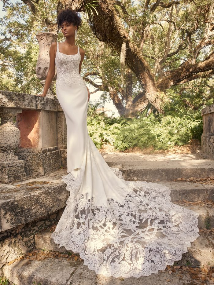 Bride Wearing Square Neck Wedding Dress with Long Bridal Train Called Cairo by Maggie Sottero