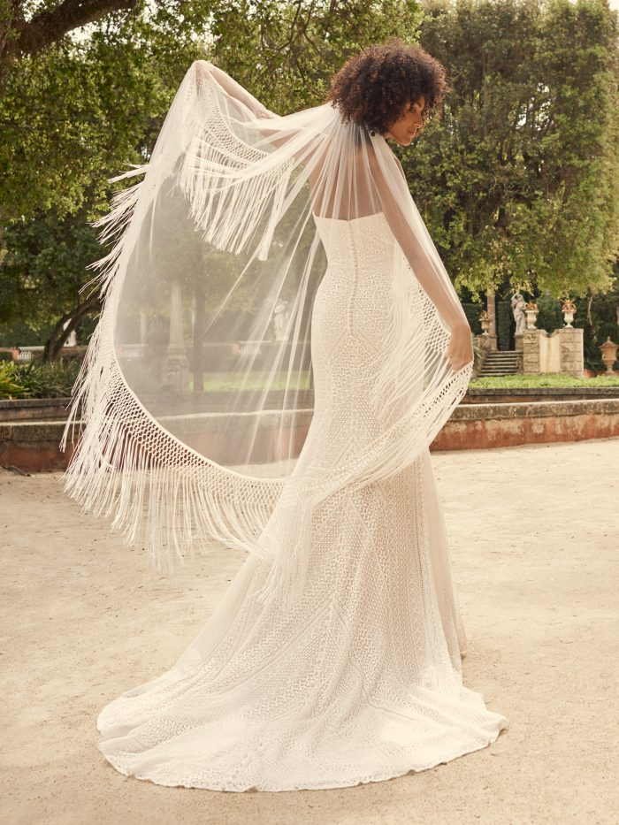 Bride Wearing Vintage Wedding Gown with Fringe Armbands Called Dover by Maggie Sottero