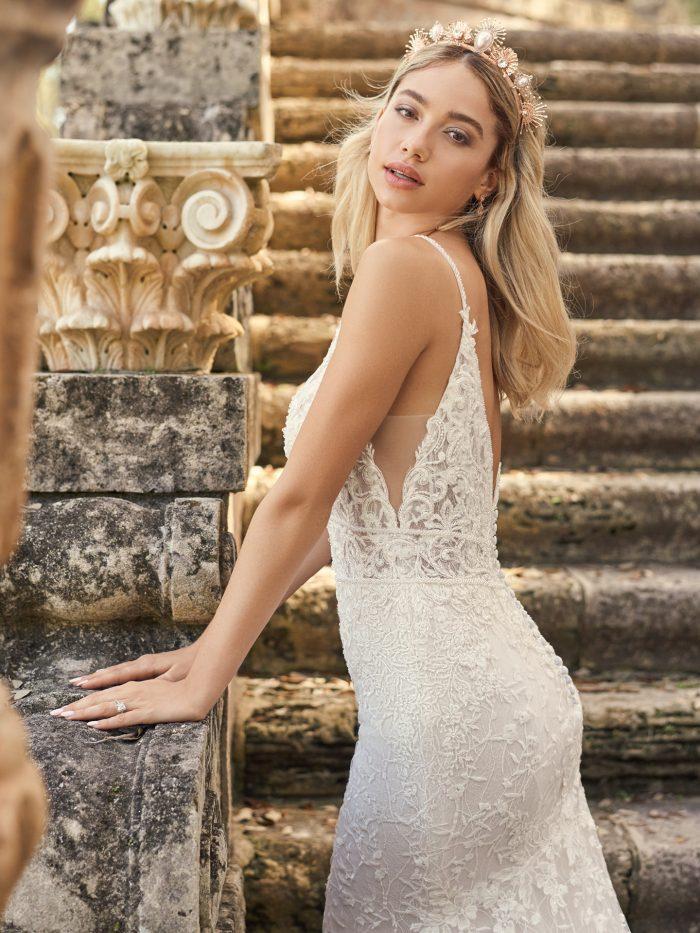 Bride Wearing Sheath Wedding Dress Called Gretna by Maggie Sottero with Wedding Tiara Called Deandra By A'El Este