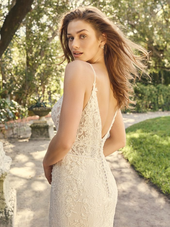Bride Wearing Deep V-back Bridal Gown Called Gretna by Maggie Sottero