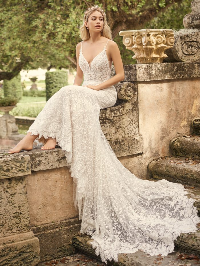 Bride Wearing Long Train Wedding Dress Called Gretna by Maggie Sottero