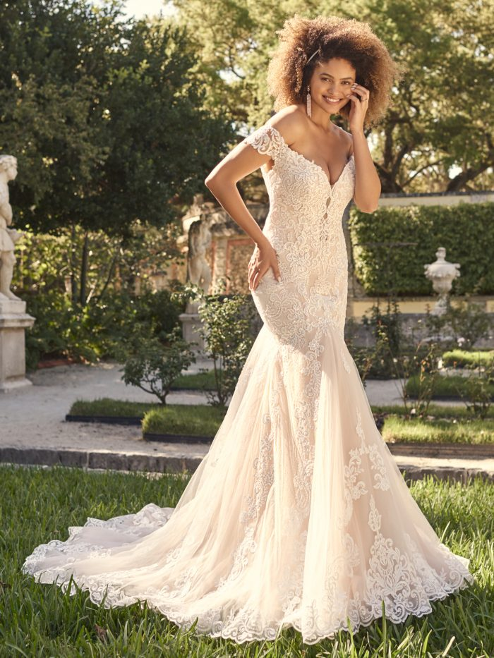 Bride Wearing Romantic Lace Fit-and-Flare Wedding Dress Called Keeva by Maggie Sottero
