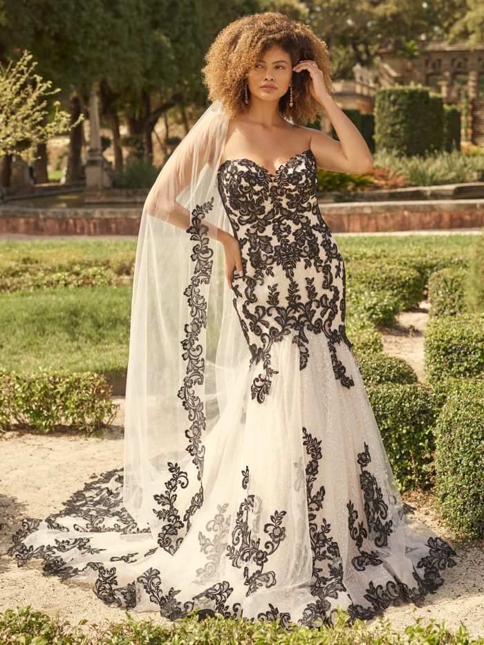 Bride Wearing Black Lace Mermaid Wedding Dress Called London by Maggie Sottero