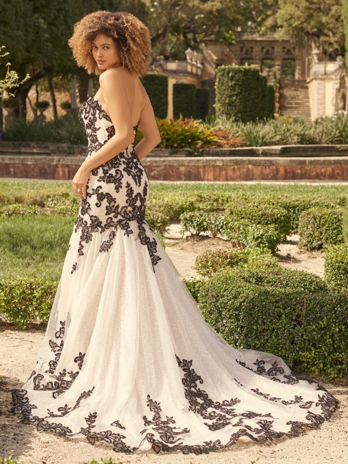 Bride Wearing Strapless Black Lace Glamorous Wedding Dress Called London by Maggie Sottero