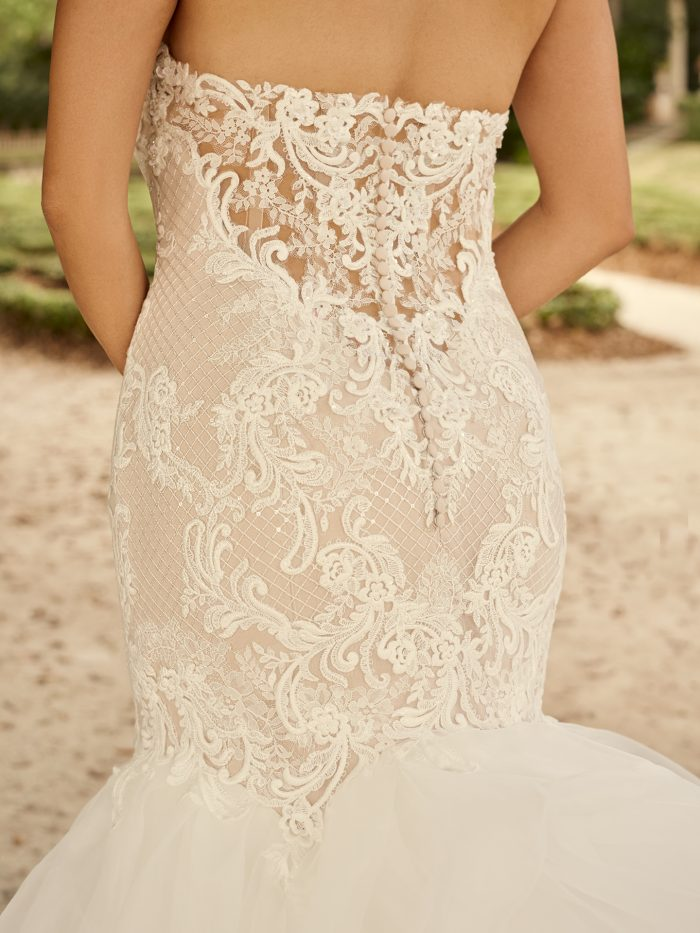 Bride Wearing Glamorous Strapless Wedding Dress Called Lunaria Marie by Maggie Sottero