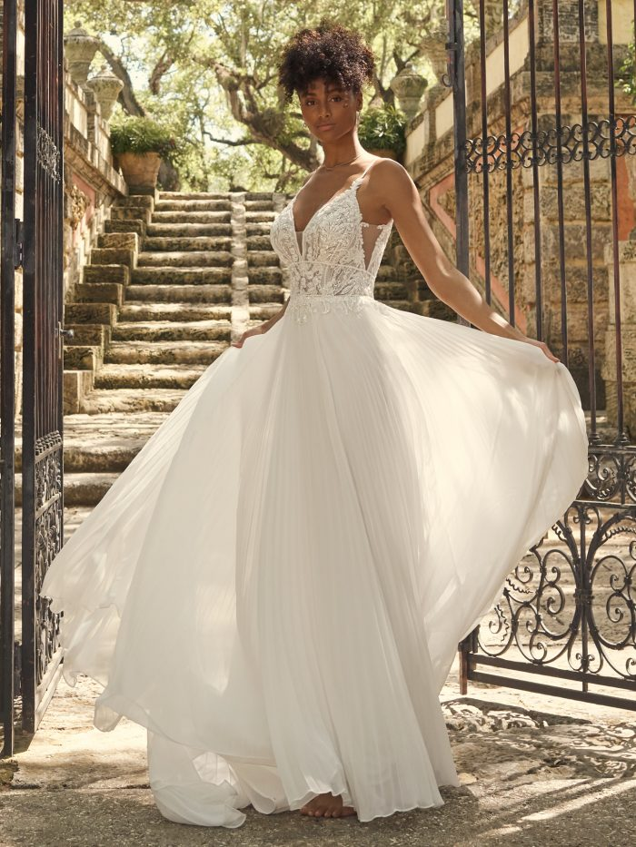 Bride Wearing Unique Statement-Back Wedding Dress Called Margery by Maggie Sottero