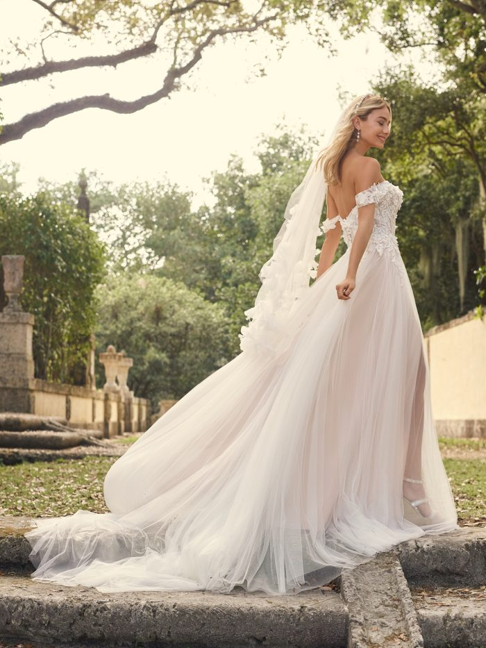 Bride Wearing Floral Off-the-Shoulder Wedding Dress Called Mirra by Maggie Sottero