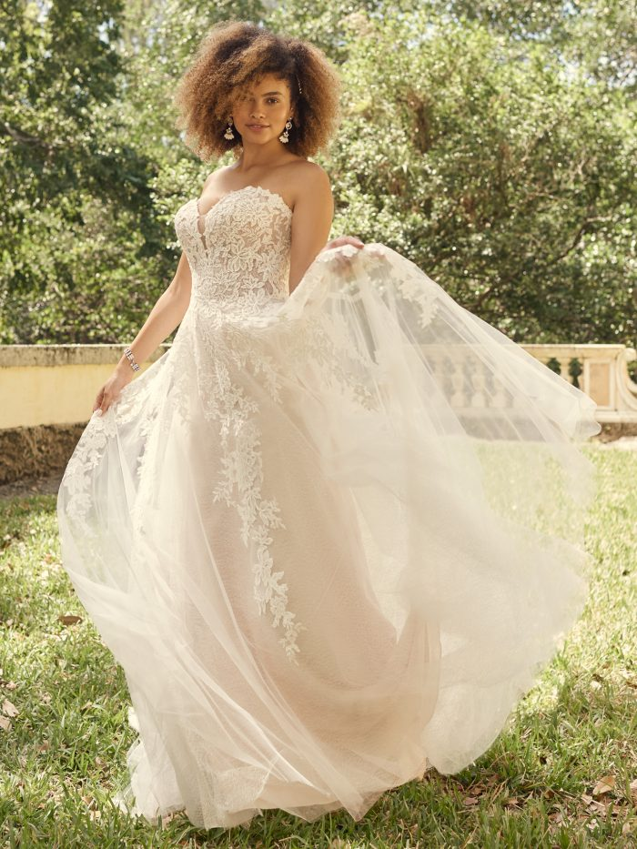 Bride Wearing Lace A-line Wedding Dress Called Nora by Maggie Sottero