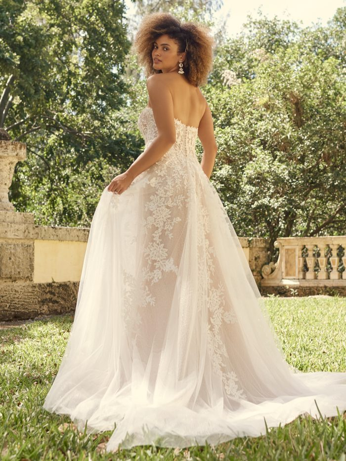 Bride Wearing Strapless Floral Wedding Dress for Full-Chested Brides Called Nora by Maggie Sottero