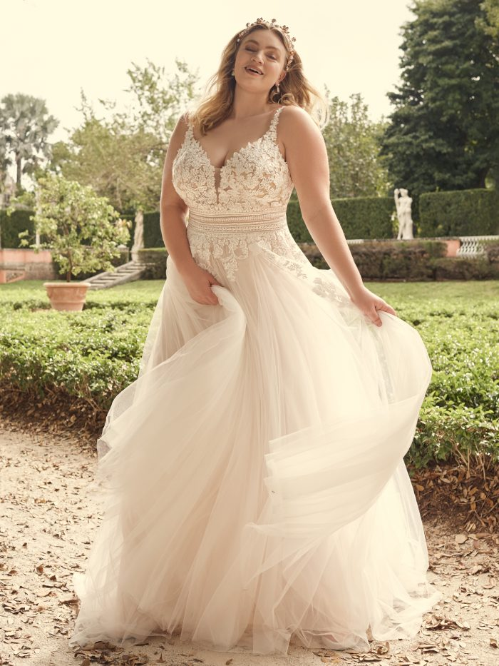 Bride Wearing Floral Plus Size A-line Wedding Dress Called Ohara by Maggie Sottero