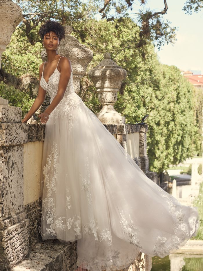 Bride Wearing Floral A-line Wedding Gown Called Pia by Maggie Sottero