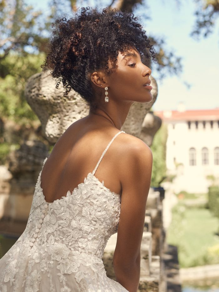 Bride Wearing Romantic A-line Wedding Dress Called Pia by Maggie Sottero