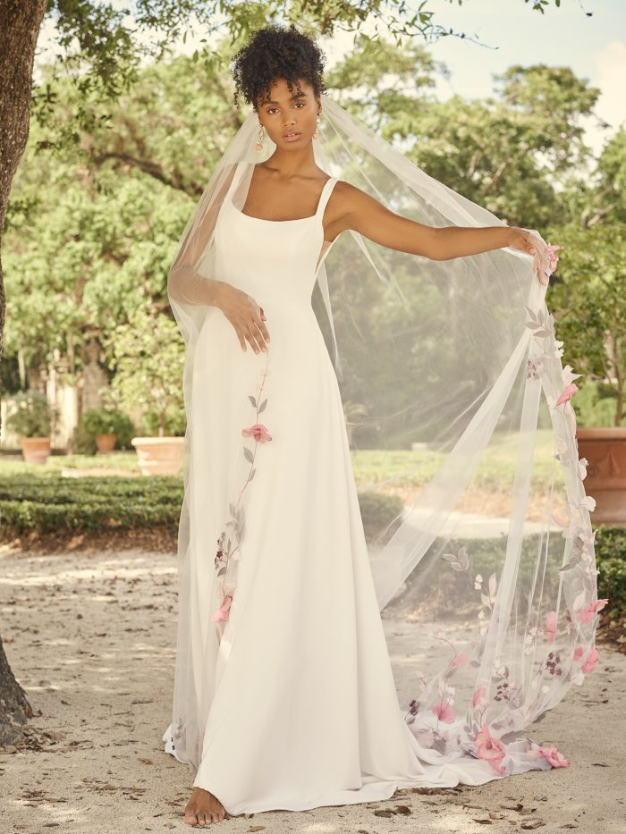 Bride Wearing Square Neck Crepe A-line Wedding Dress Called Sondra by Maggie Sottero