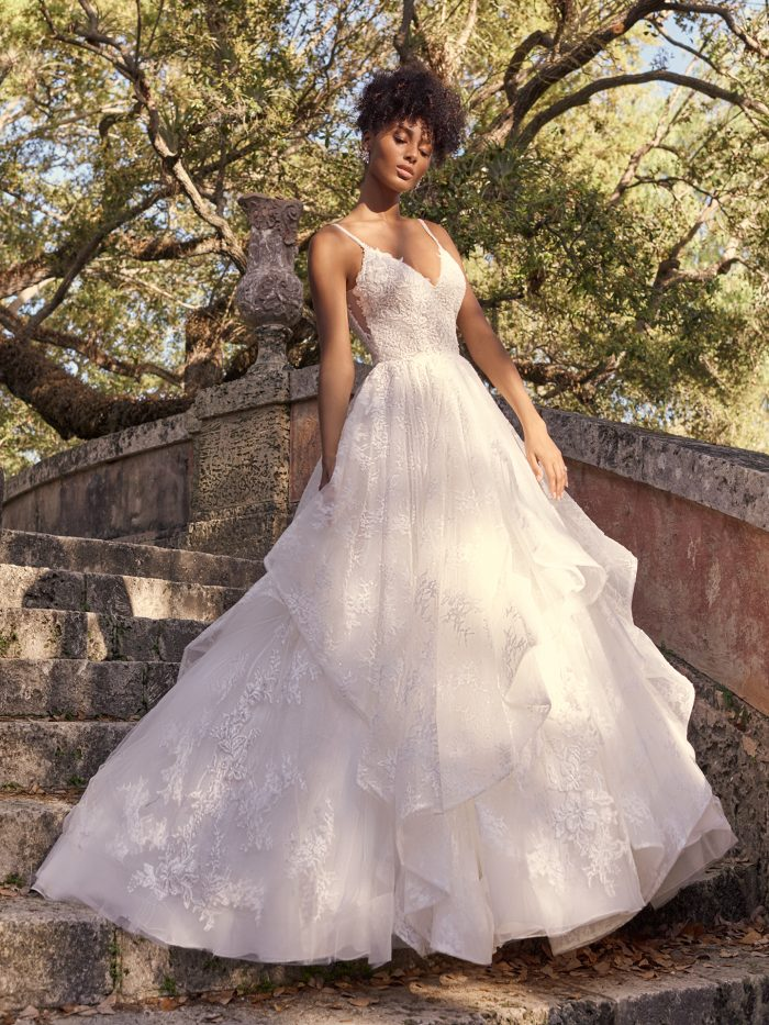 Bride Wearing Dramatic Princess A-line Wedding Dress Called Yuri by Maggie Sottero