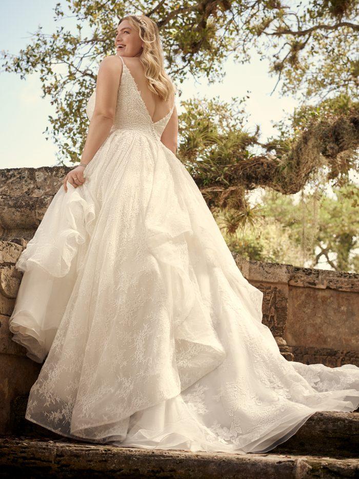 Bride Wearing Plus-Size Princess Wedding Dress Called Yuri by Maggie Sottero