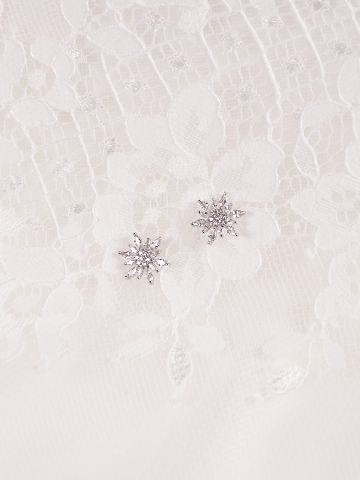 Crystal Stud Bridal Earrings Called Marvita by A'El Este and Maggie Sottero