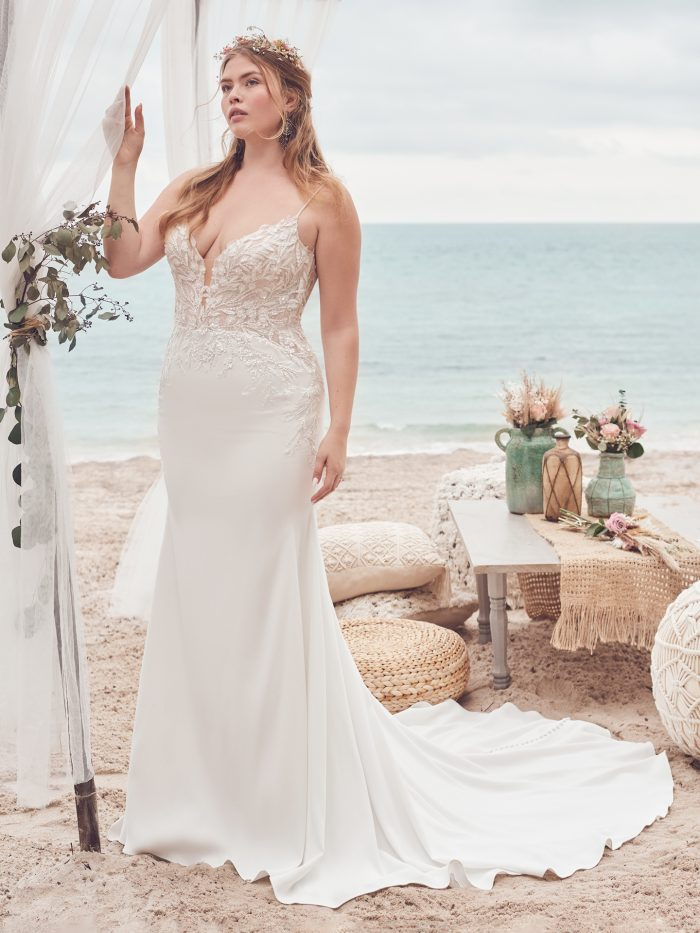 Bride Wearing Affordable Crepe Sheath Wedding Dress Called Alda by Rebecca Ingram