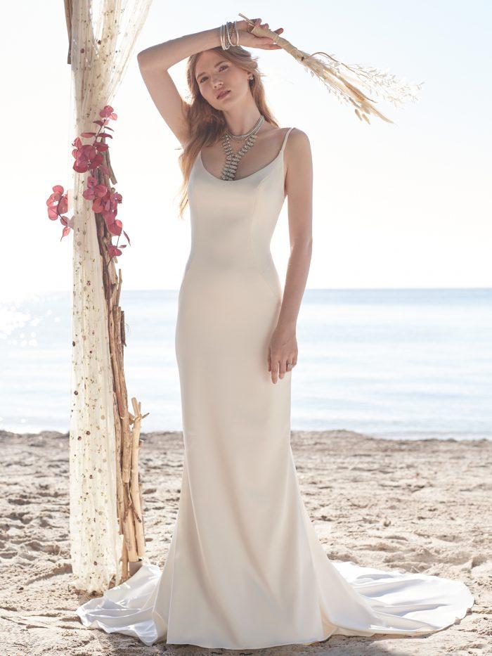 Bride Wearing Beach Wedding Dress Called Augusta by Rebecca Ingram