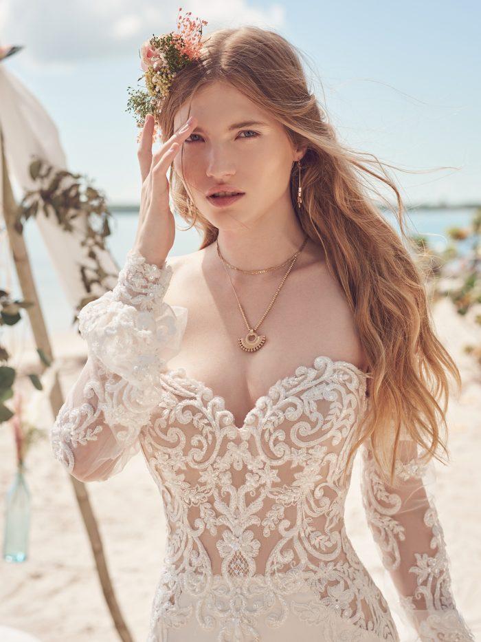 Bride Wearing Detachable Cold Shoulder Bishop Sleeves and Crepe Wedding Dress Called Beverly by Rebecca Ingram