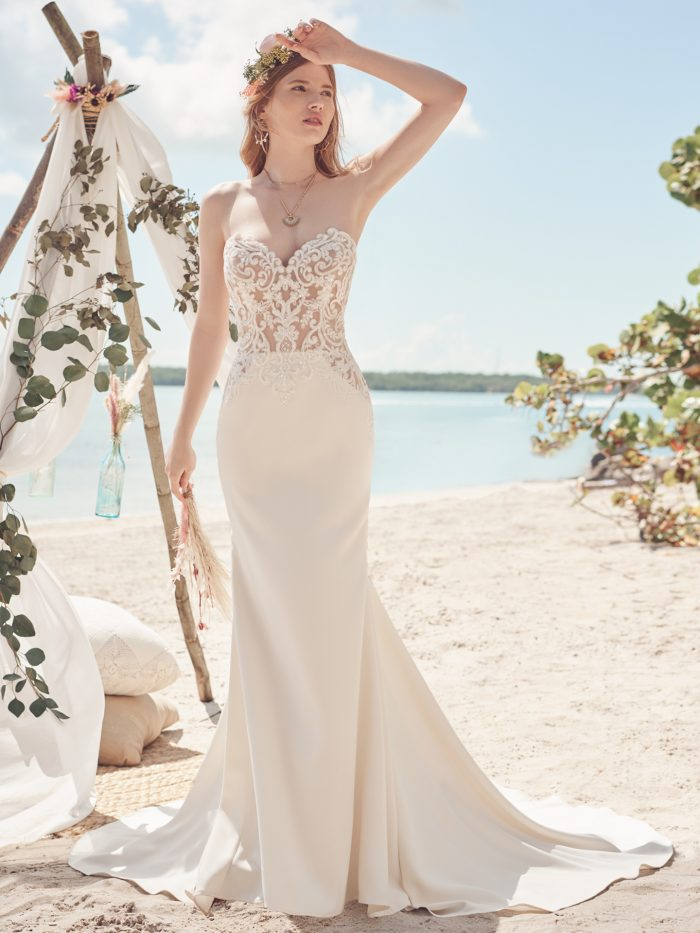 Bride Wearing Embroidered Crepe Bridal Gown Called Beverly by Rebecca Ingram