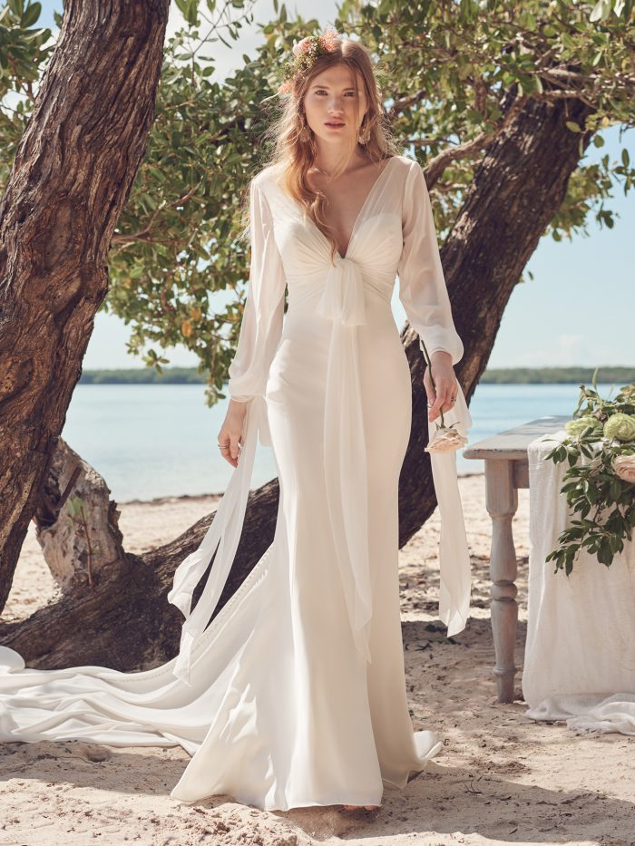 Bride Wearing Off-the-Shoulder Mermaid Wedding Gown Called Edison by Maggie Sottero