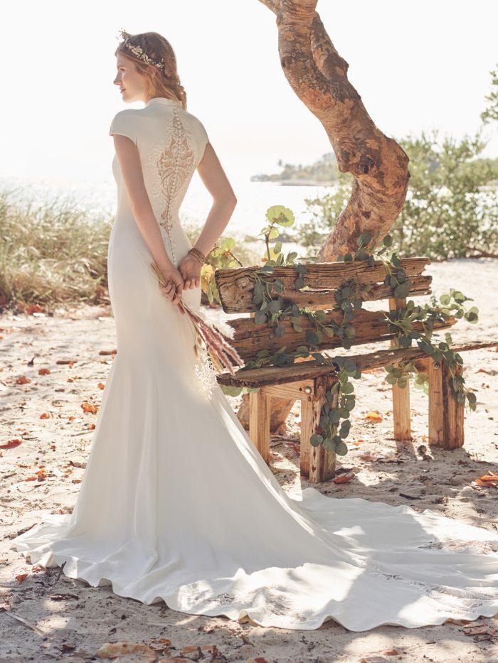 Bride Wearing Mock Turtle Neck Modest Wedding Dress Called Carole Leigh by Rebecca Ingram