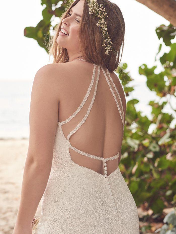 Bride Wearing Lace 1970s Wedding Dress Called Esmeralda by Rebecca Ingram