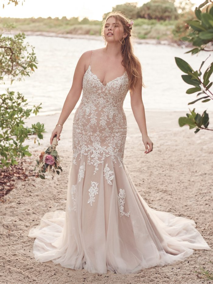 Bride Wearing Affordable Lace Mermaid Wedding Dress Called Forrest by Rebecca Ingram