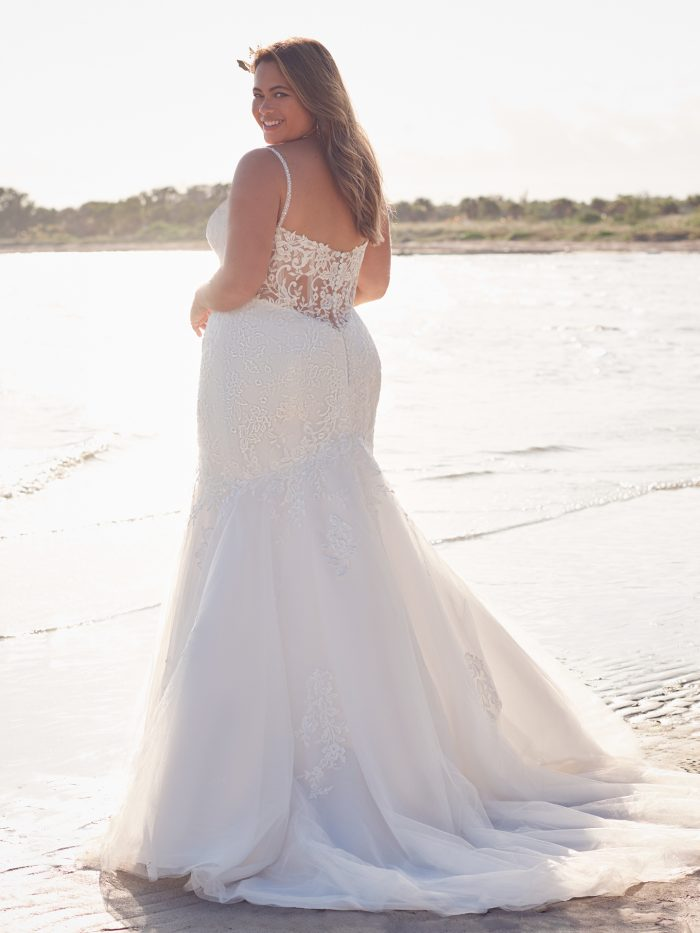 Bride Wearing Affordable Plus-Size Lace Wedding Dress Called