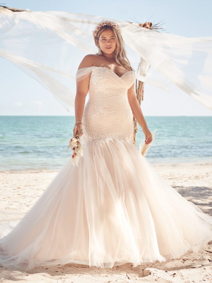 Bride Wearing Plus-Size Ruched Tulle Mermaid Wedding Gown Called Georgia by Rebecca Ingram