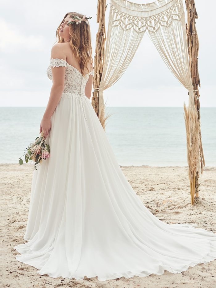 Bride Wearing Affordable Lace Beach Wedding Gown Called Heather by Rebecca Ingram