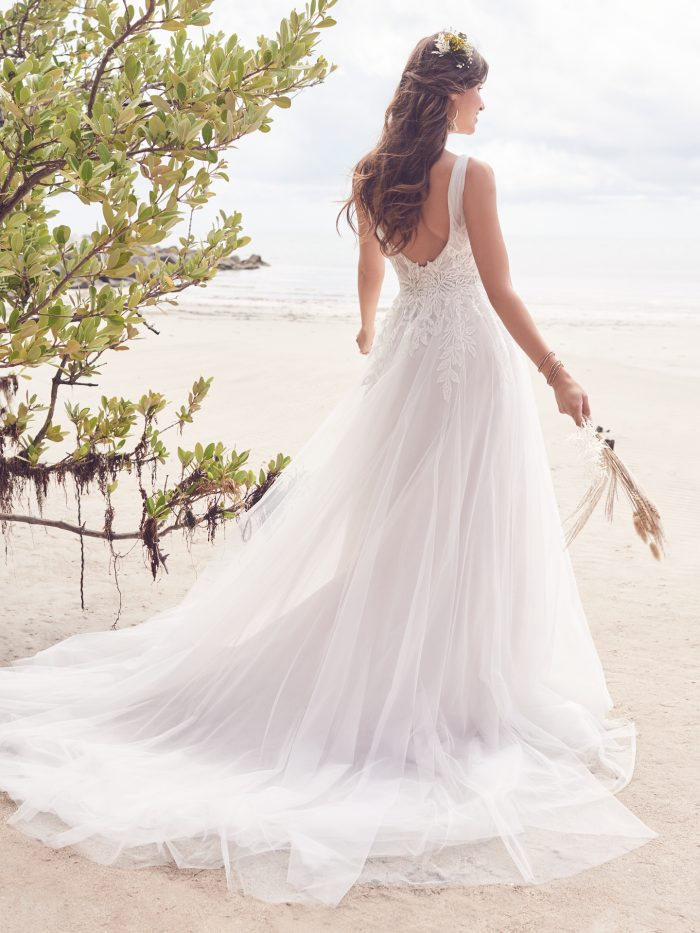 Bride Wearing Affordable Nature-Inspired Wedding Dress Called Jenessa by Rebecca Ingram