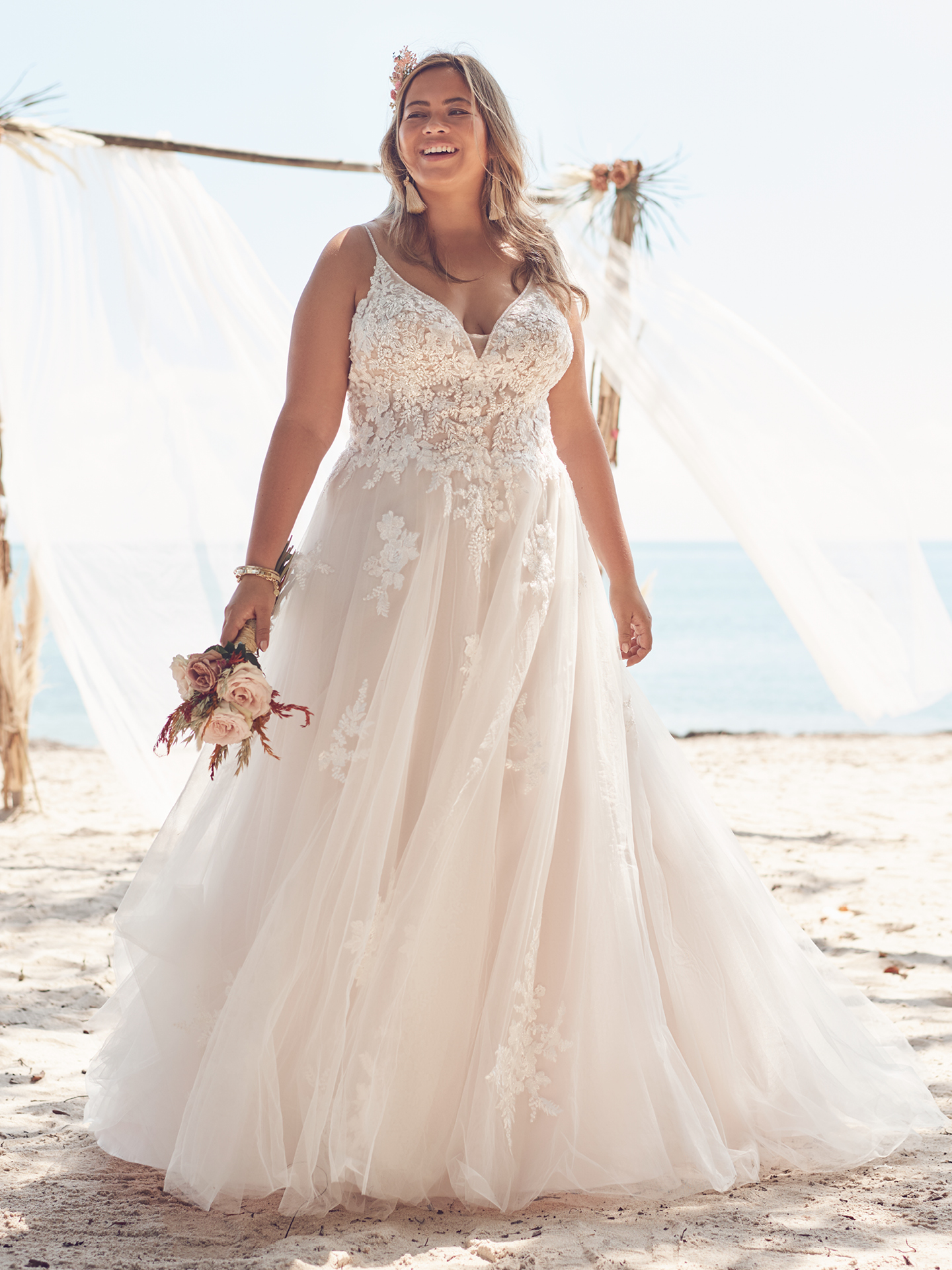 Bride Wearing Plus Size A-line for Pear-Shaped Body Types Called Jill by Rebecca Ingram
