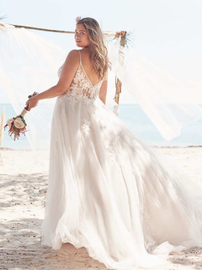 Bride Wearing Plus Size A-line Wedding Dress for Brides with Pear-Shaped Body Types called Jill by Rebecca Ingram