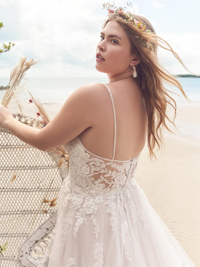 Bride Wearing Sexy Ball Gown Wedding Dress Called Lettie by Rebecca Ingram