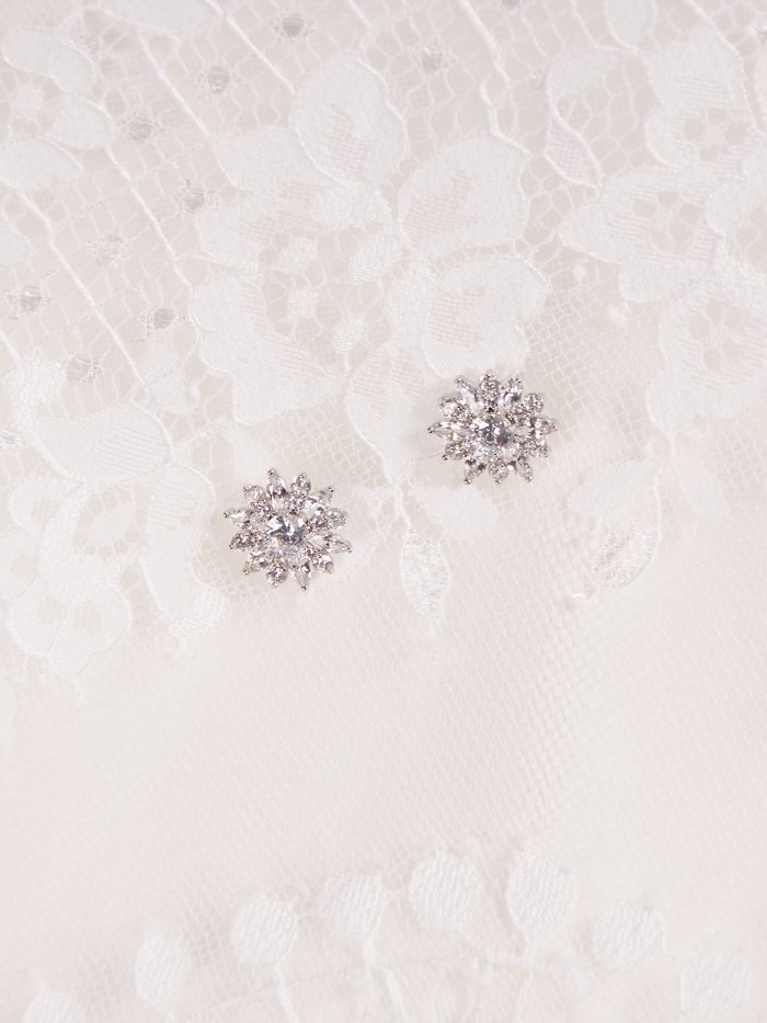 Diamond Floral Stud Bridal Earrings Called Rosaria by A'El Este and Maggie Sottero