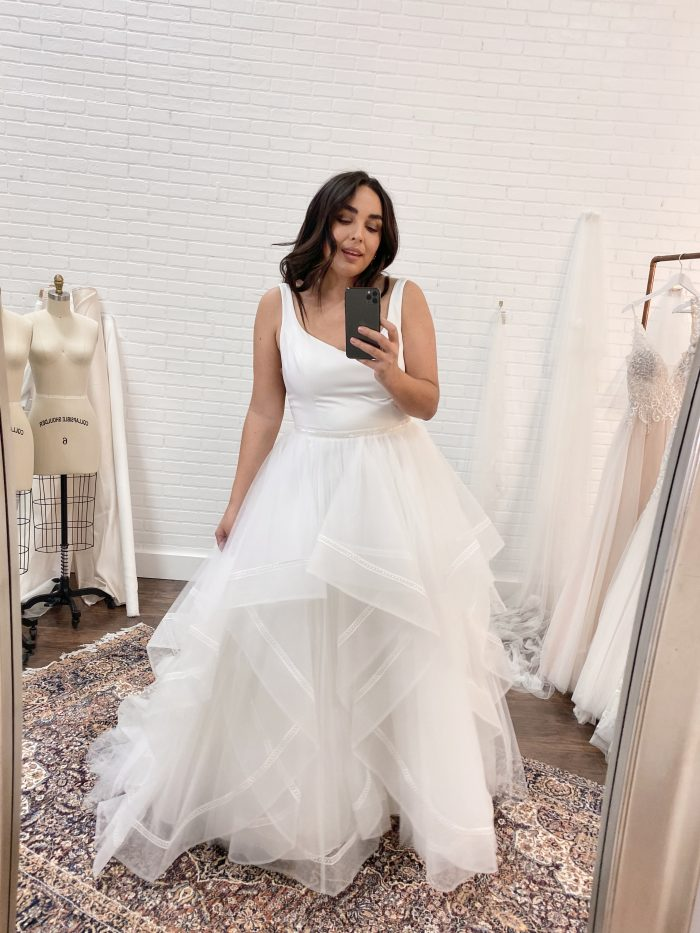 Bride Wearing Plus-Size Ball Gown Wedding Dress by Rebecca Ingram at Bridal Appointment