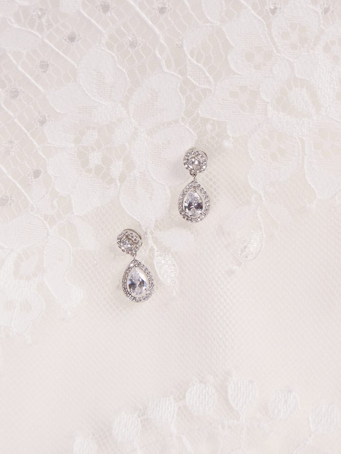 Crystal Teardrop Bridal Earrings Called Seraphine by A'El Este and Maggie Sottero