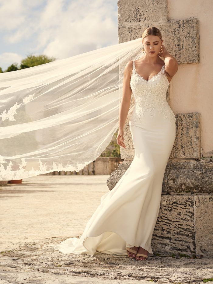 3-D Floral Crepe Sheath Wedding Gown Called Arta by Sottero and Midgley