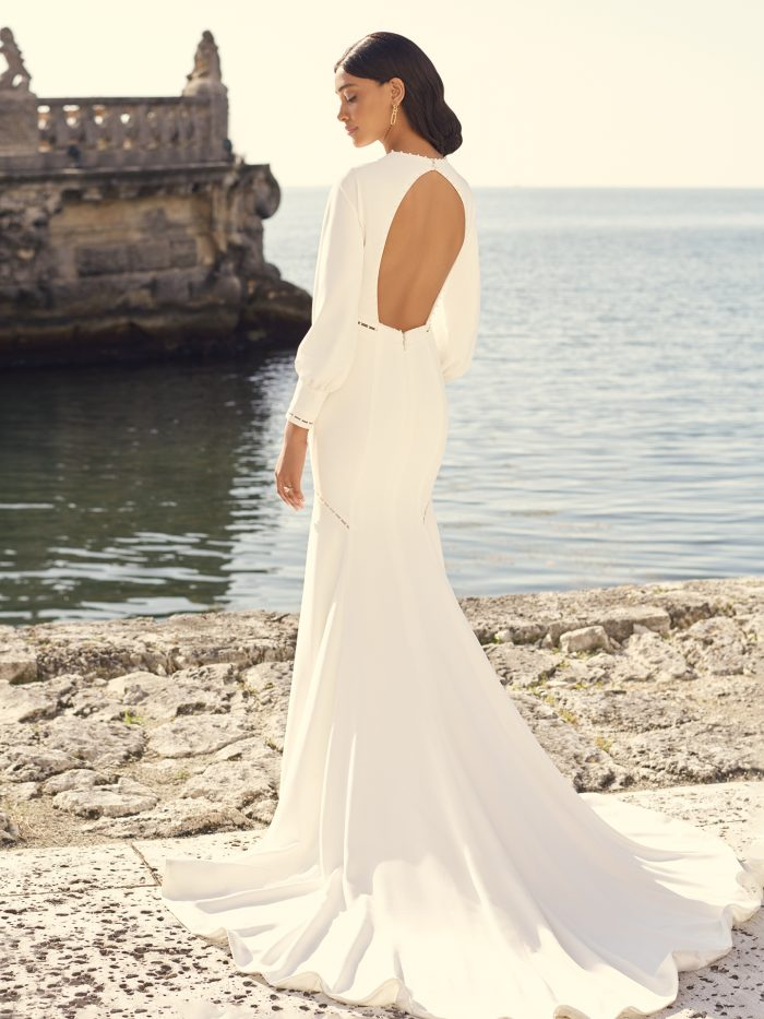 Bishop Sleeve Keyhole Back Wedding Gown Called Austin by Sottero and Midgley