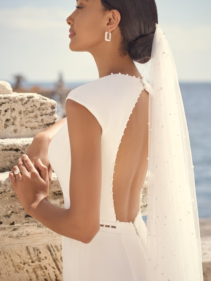 Bride Wearing Vintage Cap-Sleeve Keyhole Back Bridal Gown Called Austin by Sottero and Midgley