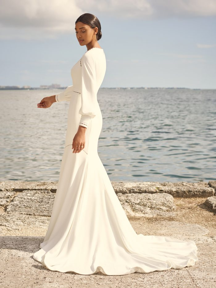 Bride Wearing Vintage Fit-and-Flare Bridal Gown Called Austin Leigh by Maggie Sottero