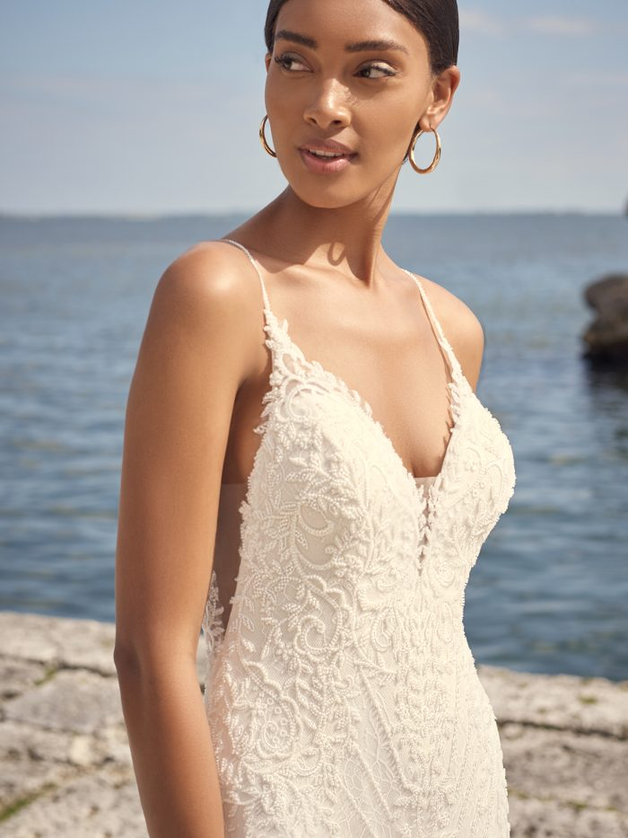 Bride Wearing Low Back Sheath Wedding Dress Called Barrett by Sottero and Midgley