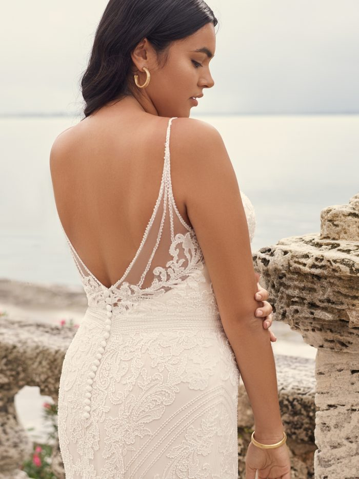 Bride Wearing Plus-Size Lace Fit-and-Flare Wedding Dress Called Cambrie by Sottero and Midgley