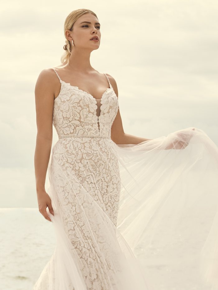 Bride Wearing Lace Sheath Wedding Dress for Pear-Shaped Body Types Called Dasha by Sottero and Midgley