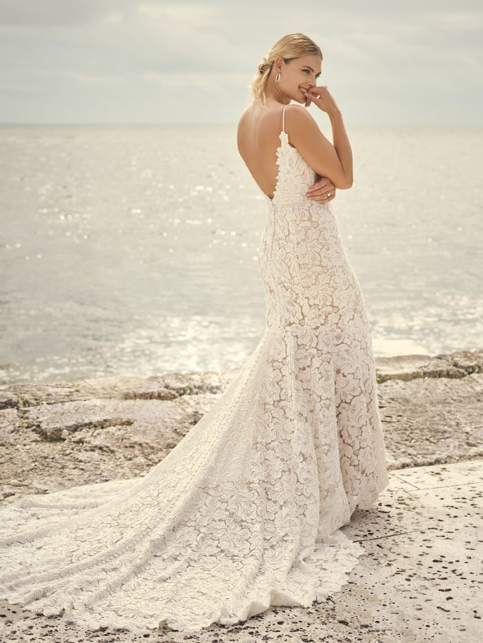Bride Wearing Athletic Fit-and-Flare Wedding Dress by Sottero and Midgley for Brides with Rectangle Body Types