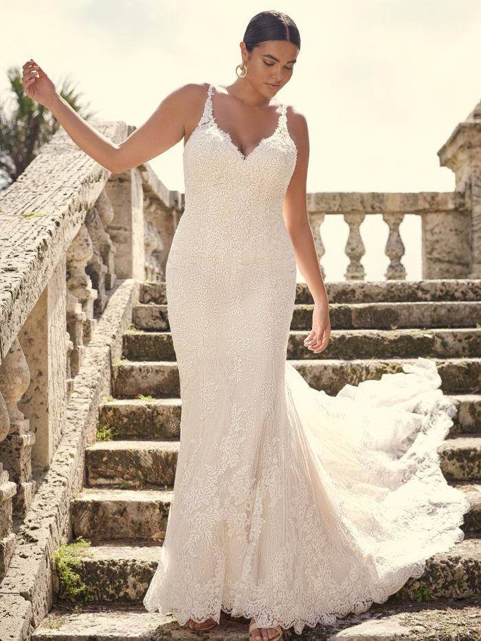 Bride Wearing Lace Sheath Plus-Size Wedding Dress Called Dublin Lynette by Sottero and Midgley