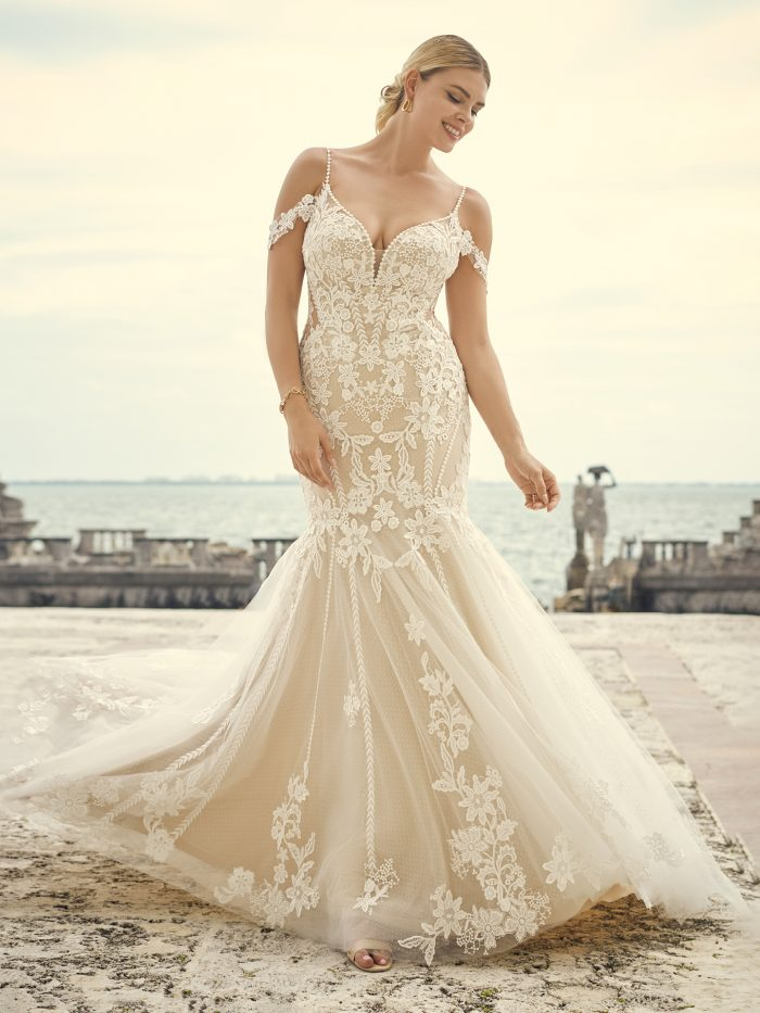 Mermaid 1970s Wedding Dress Called Grayson by Sottero and Midgley