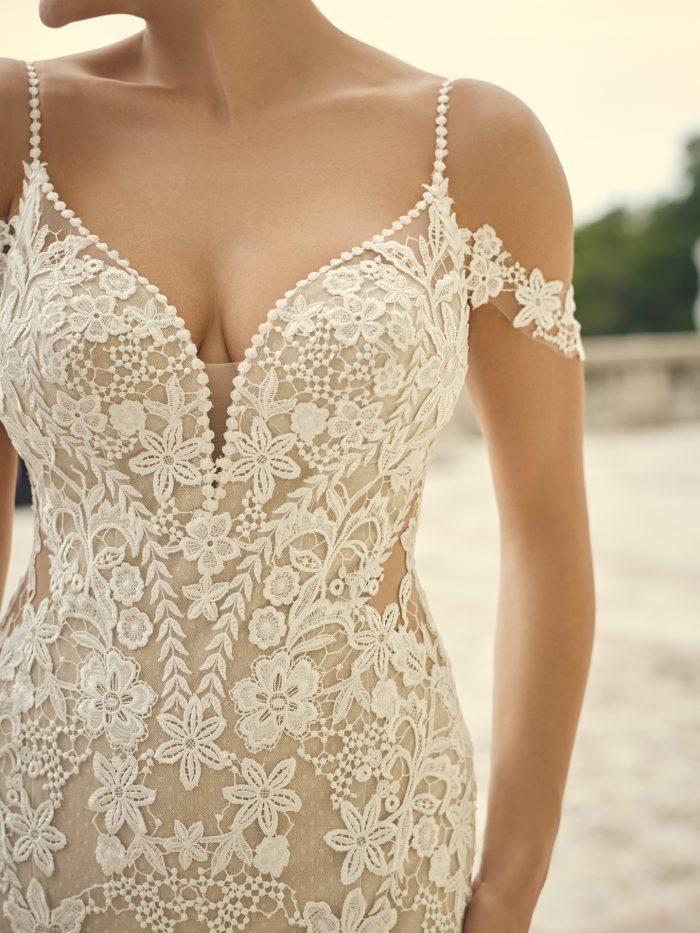 Bride Wearing Cold Shoulder Sleeve Wedding Gown Called Grayson by Sottero and Midgley