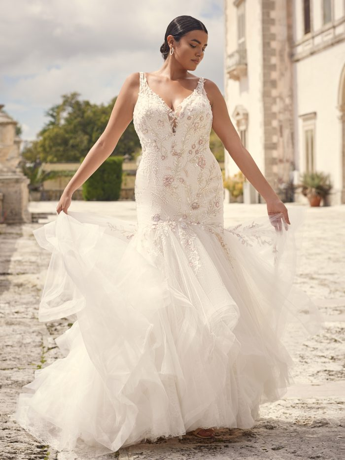 Bride Wearing Plus Size Mermaid Wedding Dress Called Kenleigh by Sottero and Midgley